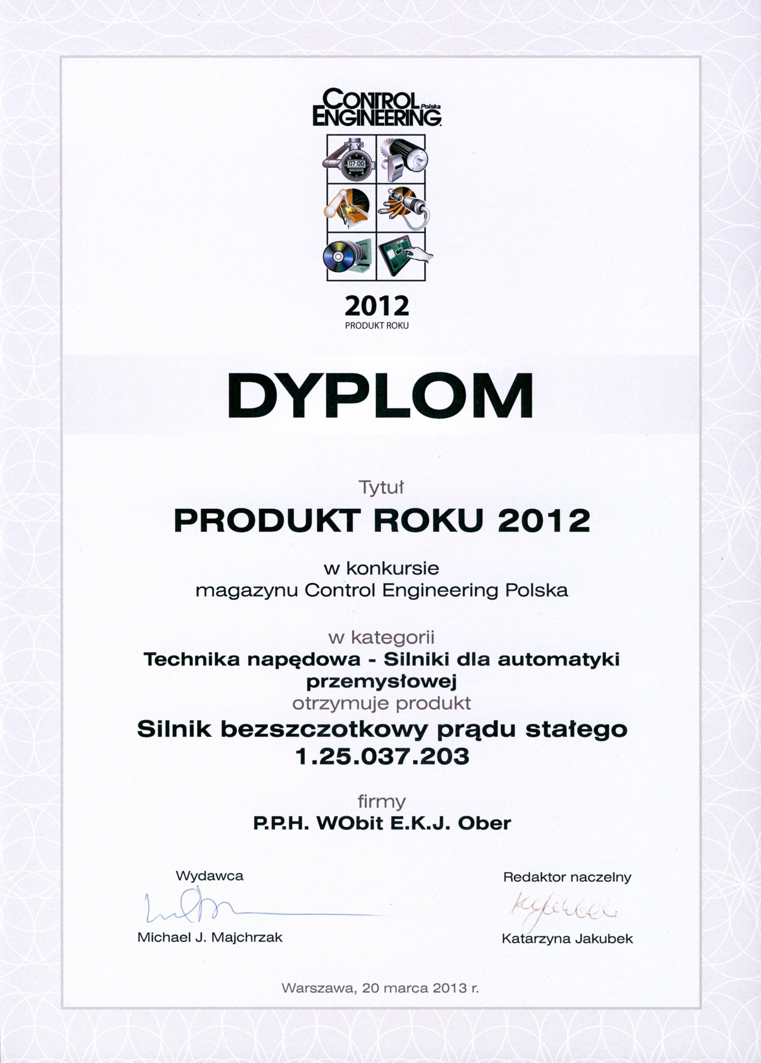 Produkt Roku 2012 - silnik bezszczotkowy prądu stałego 1.25.037.203