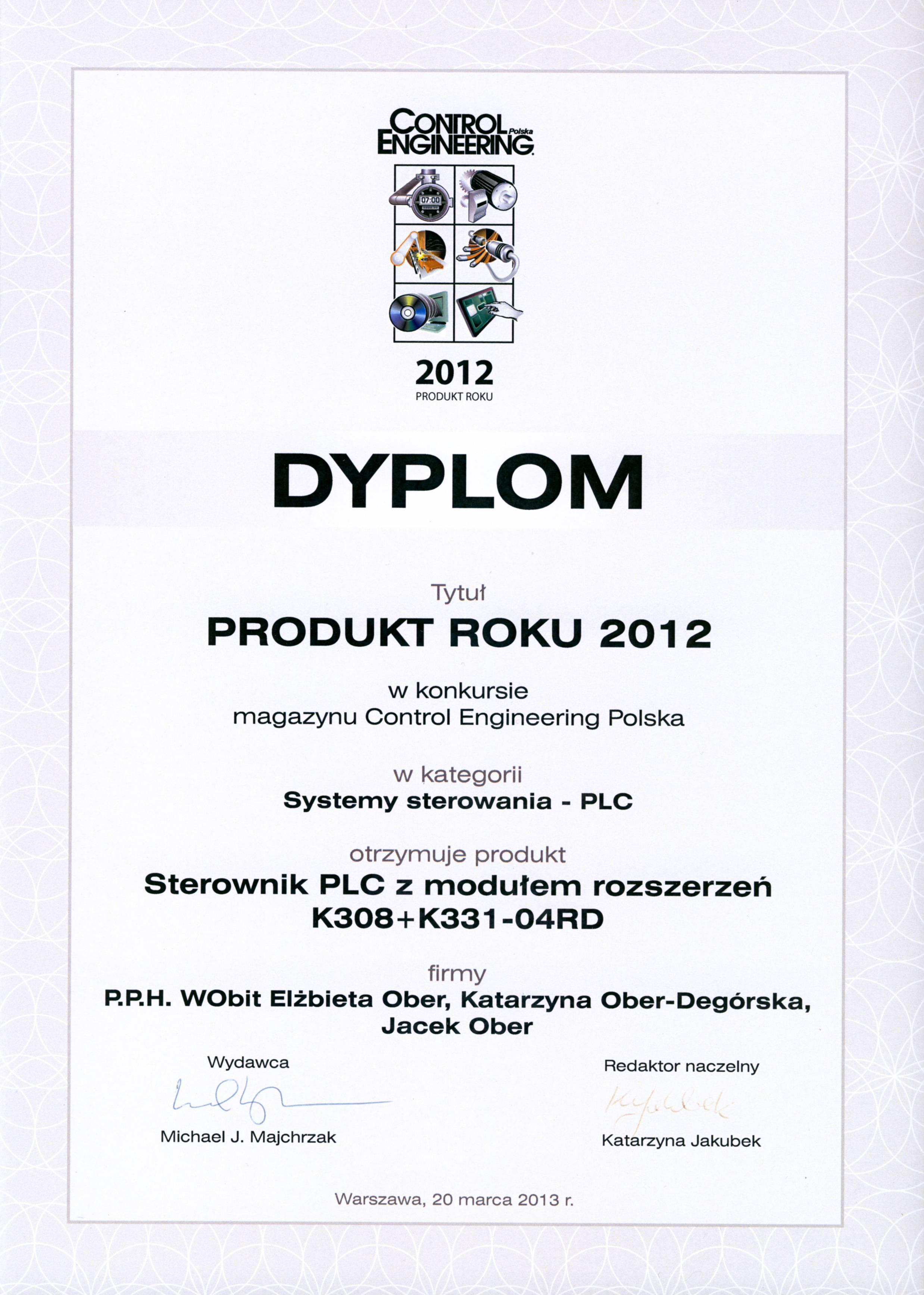 Produkt Roku 2012 - Sterownik programowalny K308+K331-04RD