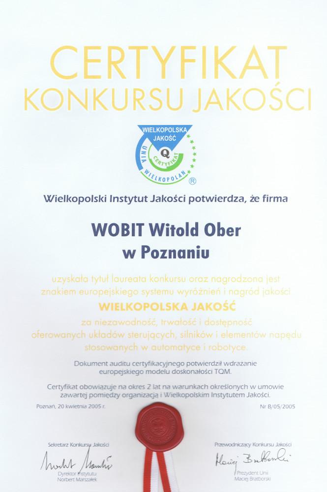 Certyfikat Konkursu Jakości 2005