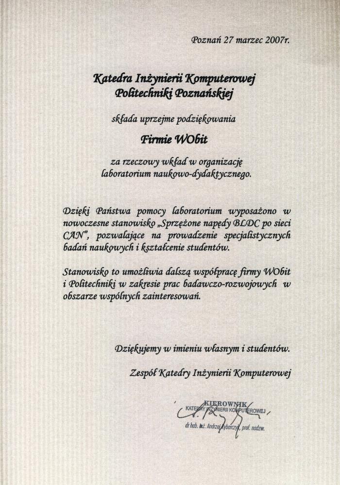 Podziekowanie Politechnika 2007