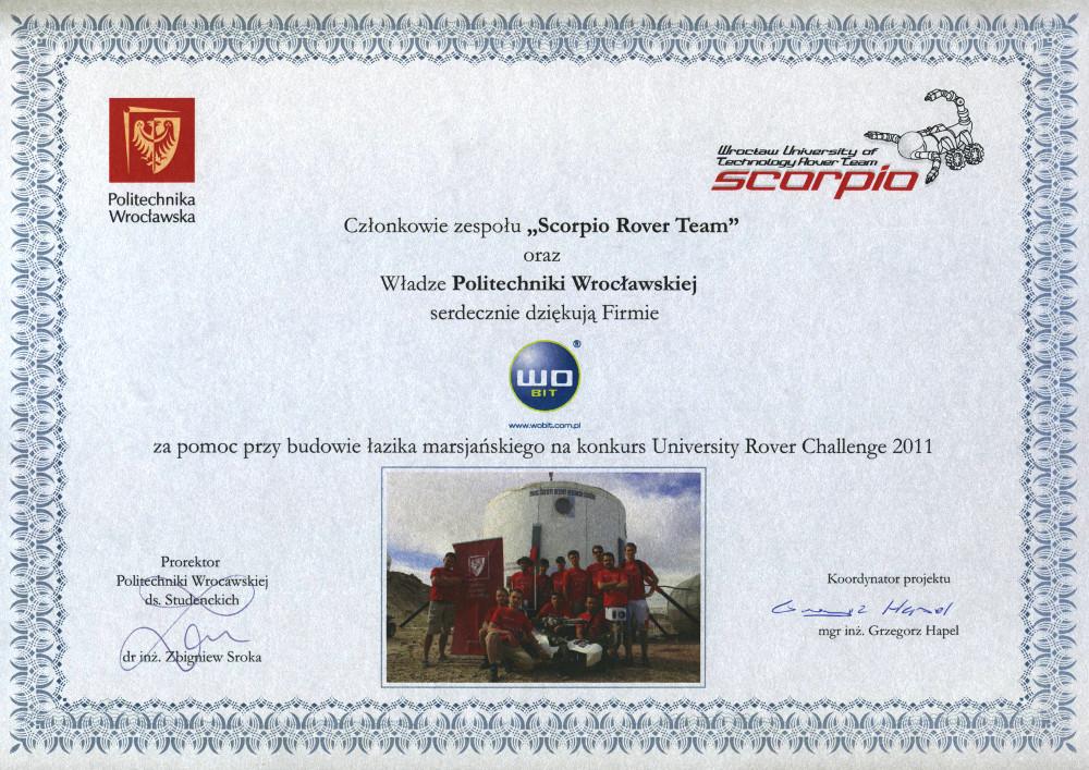 Podziękowanie Scorpio 2011