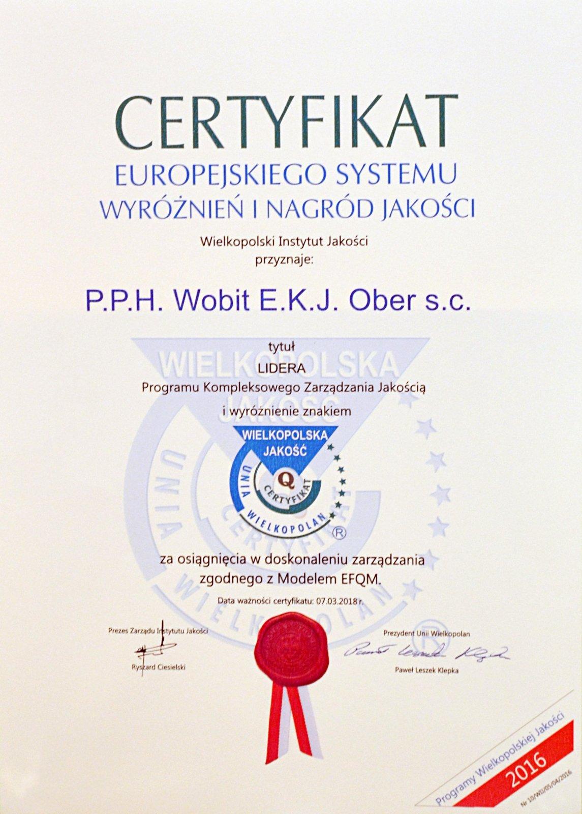 Certyfikat Jakości 2016