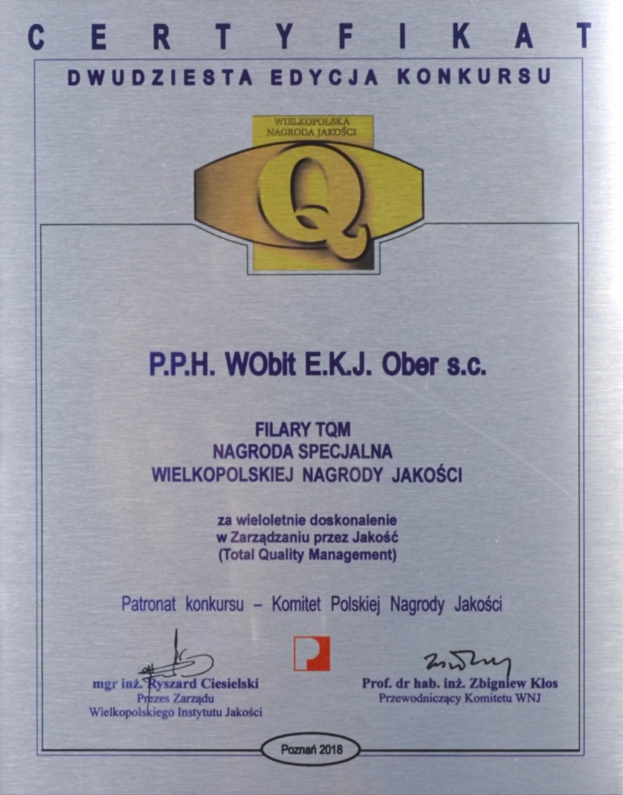 Nagroda Specjalna Jubileuszowego Konkursu o Wielkopolską Nagrodę Jakości