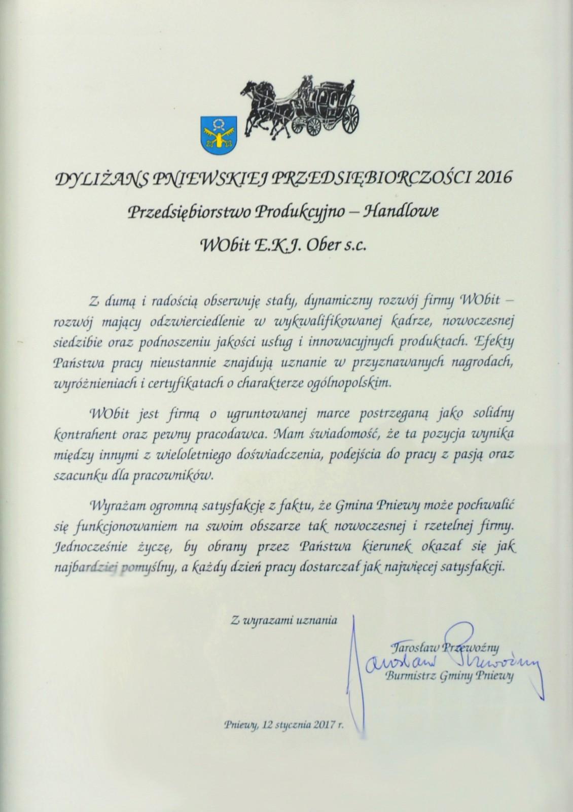 Dyliżnas Pnieskiej Przedsiębiorczości 2016