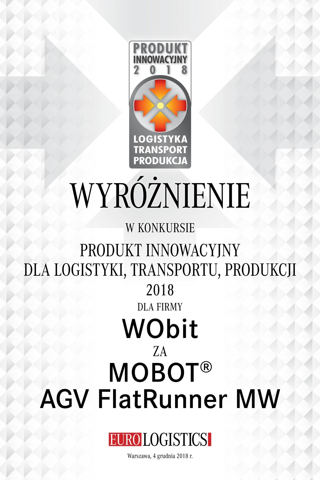 Wyróżnienie w konkursie dla logistyki, transportu, produkcji