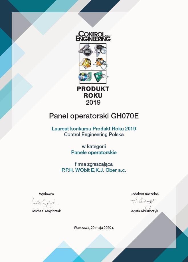 Produkt Roku 2019 za panel operatorski HMI GH070E