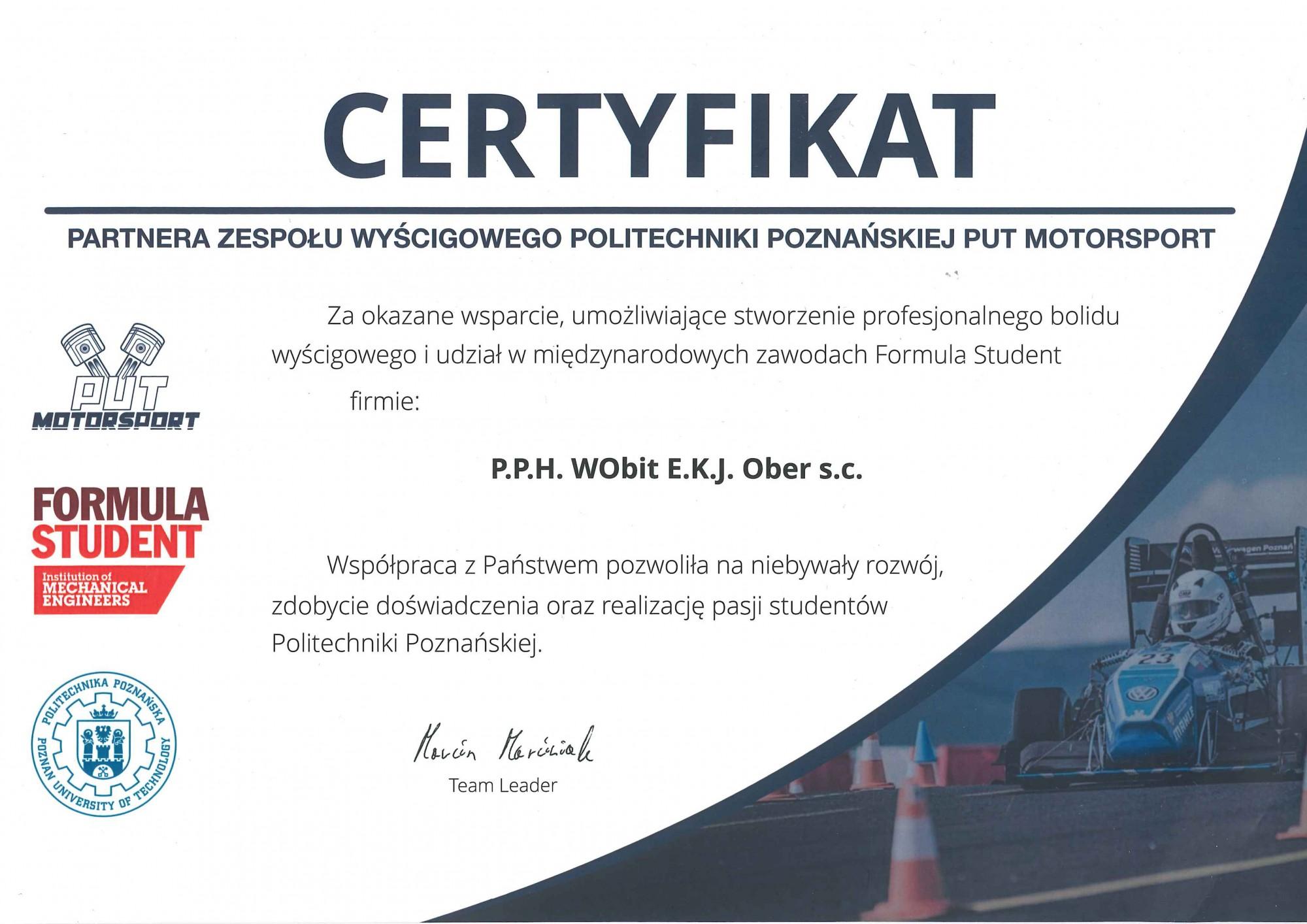 Certyfikat Partnera Zespołu Wyścigowego Politechniki Poznańskiej PUT Motorsport
