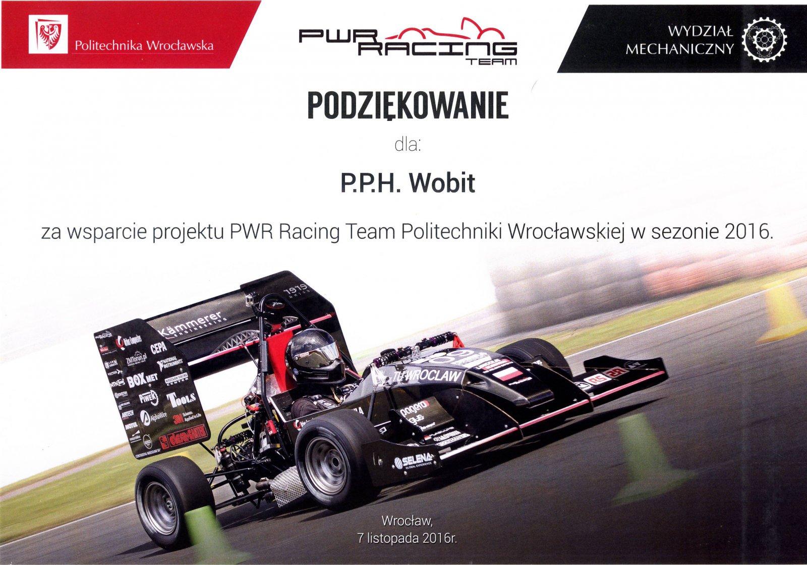 Podziękowanie PWR Racing Team