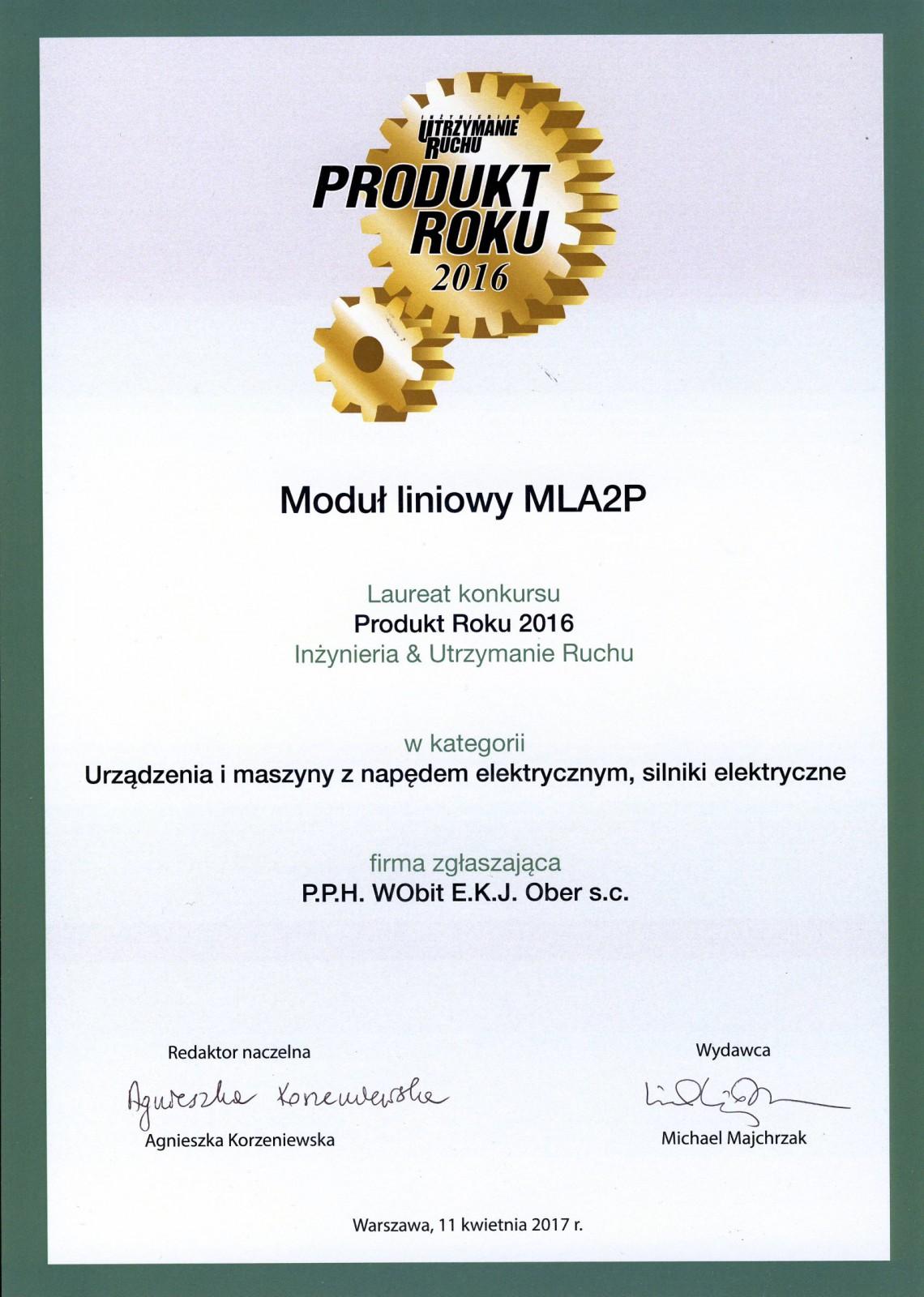 Produkt Roku 2016 I&UR MLA2P