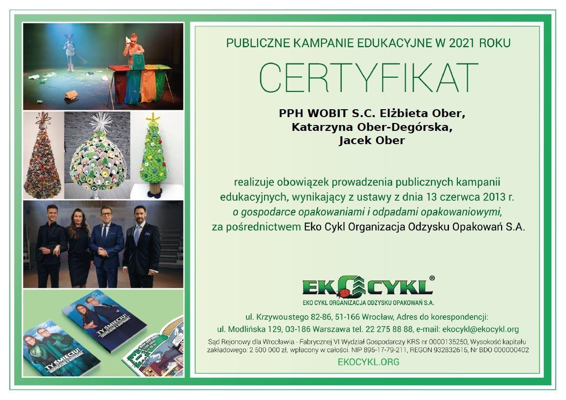 Certyfikat Eko-Cykl 2021