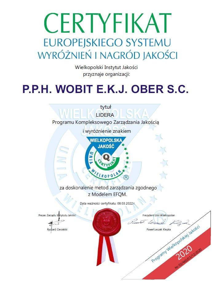 Certyfikat Lidera Programu Kompleksowego Zarządzania Jakością i wyróżnienie znakiem Wielkopolska Jakość