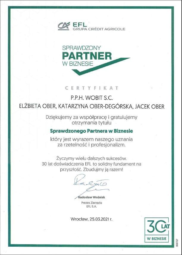 Certyfikat Sprawdzony Partner w Biznesie
